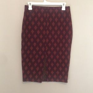 Zara Trafaluc Patterned Midi Skirt Size Medium